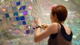 Unwoven Light: An iridescent net of chain link by Soo Sunny Park