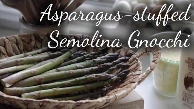 Asparagus-Stuffed Semolina Gnocchi Casserole