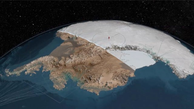 An animated map of the bedrock beneath Antarctica's ice sheet