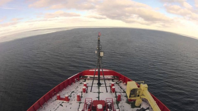Two months in 5 minutes: Breaking ice on an icebreaker boat