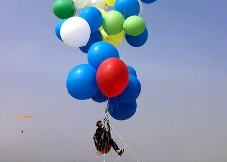 Flying from Robben Island to Cape Town by helium-filled balloons