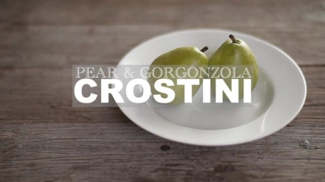 Pear and Gorgonzola Crostinis