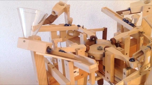 Paul Grundbacher's wooden marble machines