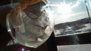 Bubble freeze: ice crystals form on a bubble