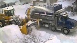 How the trucks remove heavy snow in Montreal, Canada
