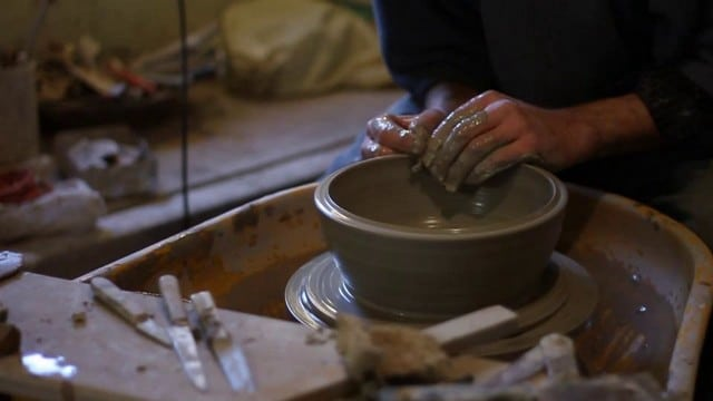 "Riddings Pottery: ""Throwing"" a bowl on the pottery wheel"