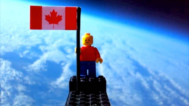 A helium balloon and a LEGO minifig travel into the upper atmosphere