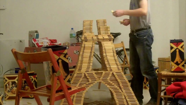 An Eiffel Tower made from Kapla Blocks
