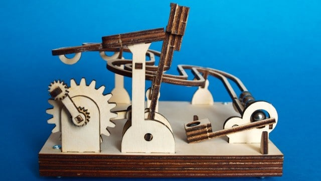 Laser-cut, flat-packed, wood DIY modular marble machine kits