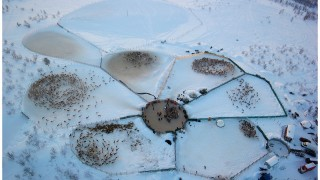 Fly over a herd of reindeer near Kautokeino, Norway