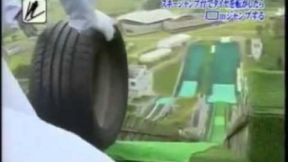 Japanese television: Tires on a ski jump