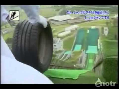 Tires on a ski jump, a competition clip from Japanese television