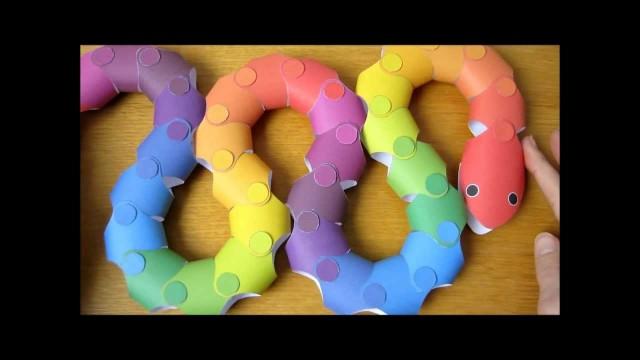 Papercraft rainbow snake