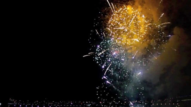 New Year's Eve celebration fireworks… backwards