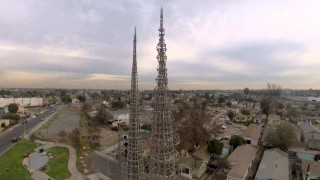 Flying a quadcopter above Simon Rodia's Watts Towers