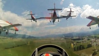 Spanish Air Force jets land in formation: View from the seventh jet