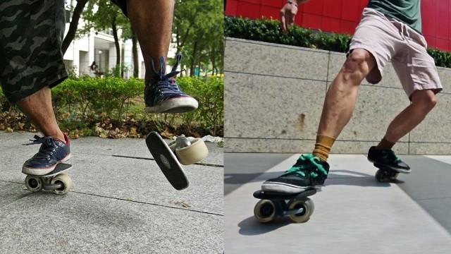 Freeline skate tricks on the streets of Taipei