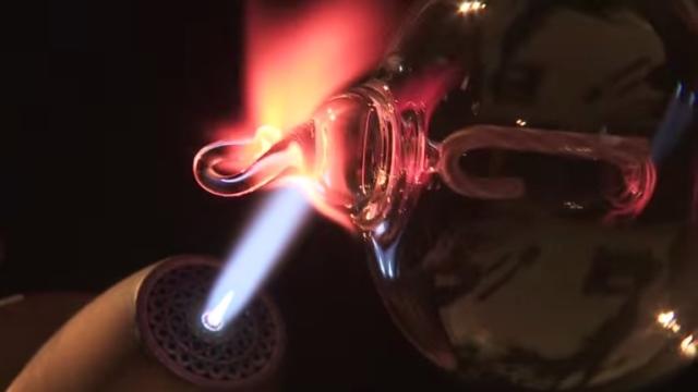 Glass artist Kiva Ford makes handmade scientific & artistic glassware