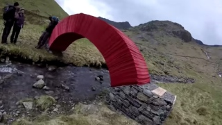 Red PaperBridge, a temporary installation by Steve Messam