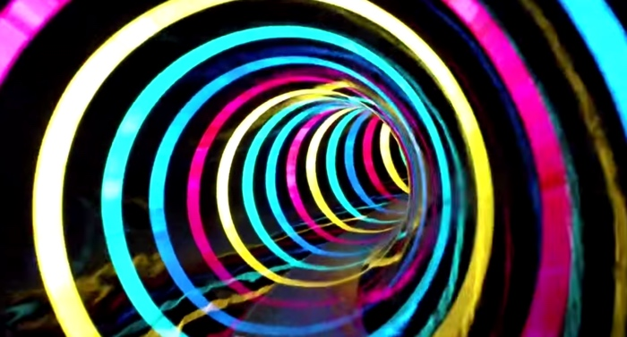 this water slide is a tunnel of led rainbow effects the