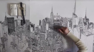 Colossus – A time lapse ink drawing of New York City's skyline