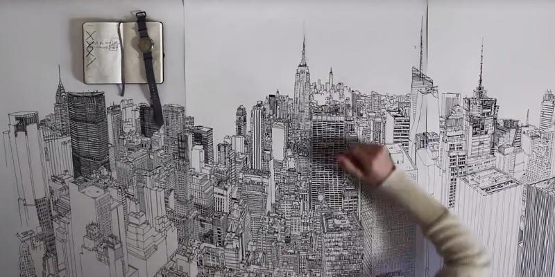 New York City Skyline, NYC, Empire State, Chrystler Building, ink ...