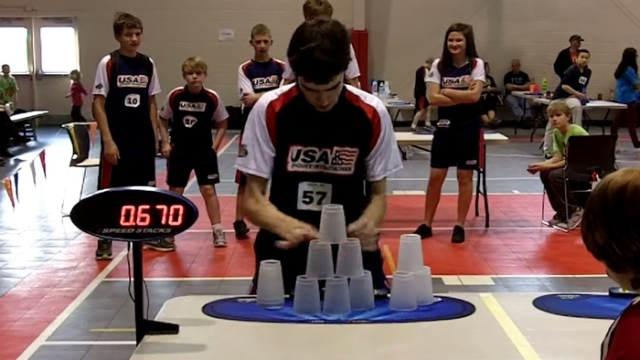 An Individual Cycle Sport Stacking World Record of 5.000 seconds