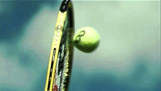 A racquet flattens a tennis ball at 142 mph in slow motion