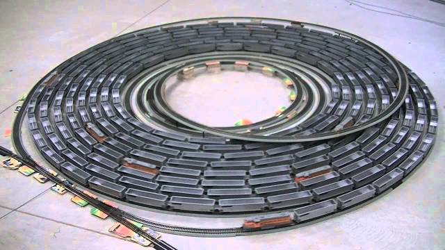 Spiral after spiral of HO-scale toy trains