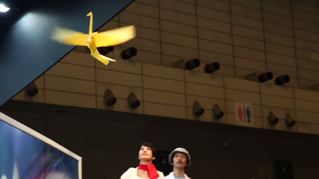 Orizuru, a remote controlled origami crane that can fly