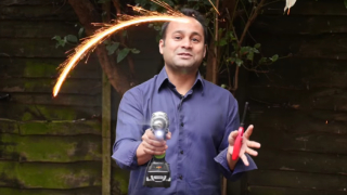 Circular motion demonstration with a sparkler & a hula hoop