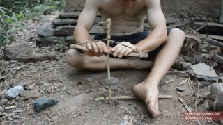 Making a cord drill & pump drill from sticks & rocks