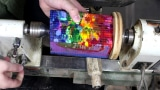 Turning a brick of melted crayons on the lathe