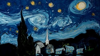 Van Gogh's Starry Night painted on dark water