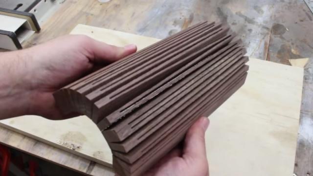 Bending sliced wood like a slinky
