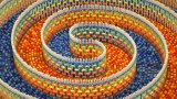 The Amazing Triple Spiral (15,000 dominoes)