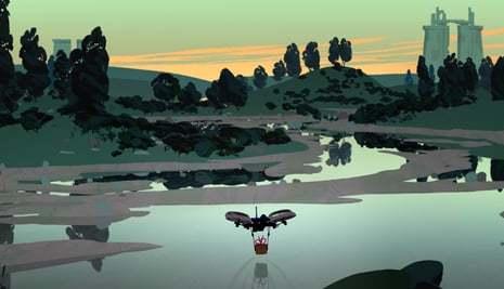 Ciclope, a messenger drone flies across ravaged landscapes