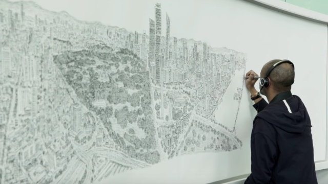 Stephen Wiltshire draws a Mexico City panorama from memory