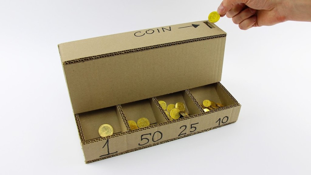 How to make a coin sorting machine with cardboard the kid should see this - Sorting coin bank ...