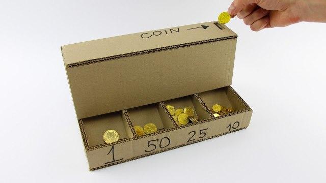 How to make a coin sorting machine with cardboard