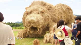Making a rice straw animal sculpture, a time lapse for the Wara Art Festival