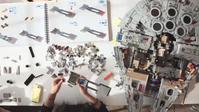 Building the 7,541-piece LEGO Millennium Falcon, a time lapse