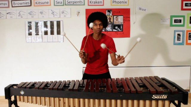 Super Mario Bros. on a marimba with four mallets